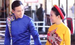 Diễn viên Trí Quang thật nam tính cùng Hoa hậu Kristine Thảo Lâm e ấp trong tà áo dài Hoàng tộc