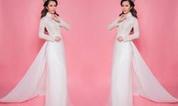 Diện áo dài bằng lụa kết ngọc trai, Hoa hậu Vân Khương thôi miên mọi ánh nhìn