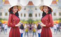 Người đẹp làng thiết kế Nhật Phượng e ấp trong dáng xuân trên phố Nguyễn Huệ