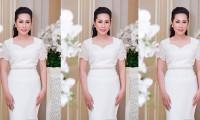 Hoa hậu Hạnh Lê chụp hình cùng nam diễn viên Minh Luân tại sự kiện